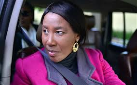Makaziwe Mandela, daughter of Nelson Mandela, leaves her father's Johannesburg home on Sunday. Mr Mandela was transported home on Sunday morning by ... - Mandela-daughter_2658651b