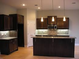 marvelous small kitchen ideas with cone hanging lamp over grey