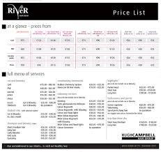 price list the river salon hugh campbell