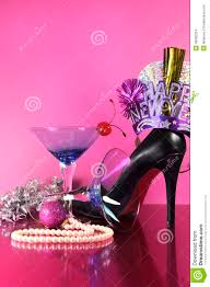 pink theme happy new year party with vintage blue martini cocktail