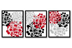 red black gray grey white flower print flowers dandelion set