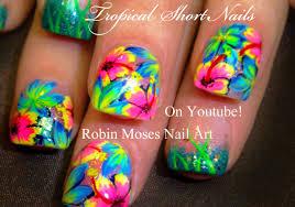 Robin Moses Nail Art by Neon Pink Flower Nails Tropical Plumeria Nail Art Design