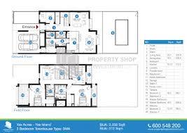 floor plan 3 bedroom type 3ma yas acres villas yas island 3 bedroom townhouse type 3ma 3358 sqft floor plans of yas acres