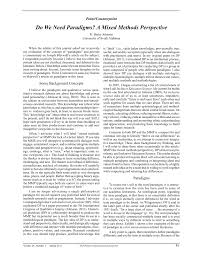 do we need paradigms a mixed methods perspective