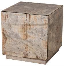 fedro hollywood regency silver antique mirror cube side table