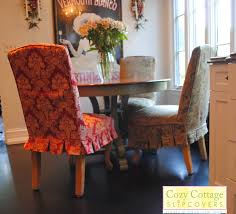 dining room slipcover parson chairs on wooden floor and curtains