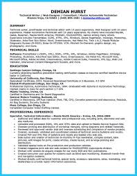 Best Tech Resume by Writing A Concise Auto Technician Resume