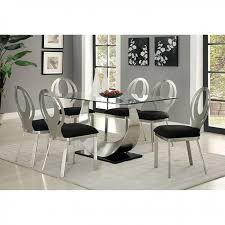 Discount Dining Room Sets Free Shipping by Orla Contemporary Silver And Black Dining Table Set