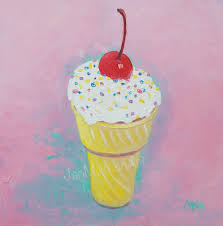 ice cream cone painting kitchen art kitchen decor cafe art