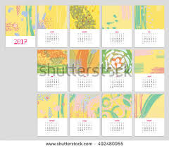Flowers For Each Month - cute calendar template 2017 yearly planner stock vector 476262625