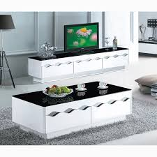 Simplicity Home Decor Black And White Paint Glass Coffee Table Living Room Furniture Tv