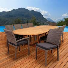 amazonia jameson 11 piece teak wicker double extendable oval patio