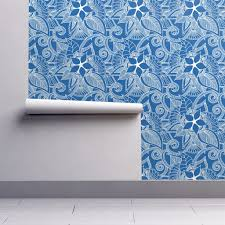yoga indian henna design blue wallpaper by khaus roostery home decor