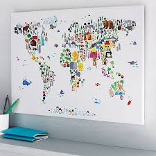 World Map Pinboard by Animal World Map Print Colorful Animals Ivory And Animal
