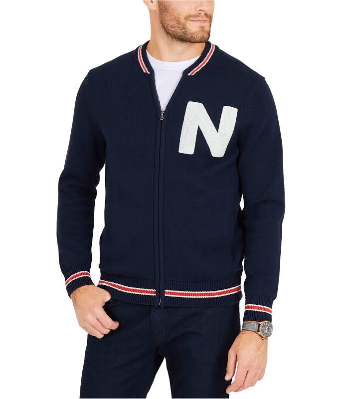Nautica Logo Baseball Jacket, Blue, Medium