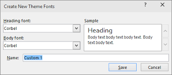 Create your own theme in PowerPoint   PowerPoint custom fonts dialog in powerpoint