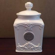 thl pineapple quilted off white ceramic tea canister w brass name