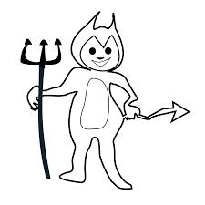 little devil black white line art coloring sheet colouring page