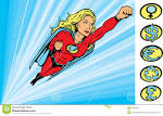 Super Heroine Flying Into Action Royalty Free Stock Image – Image
