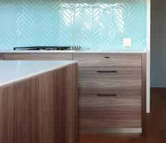 beautiful aqua color glass tile kitchen backsplash in herringbone