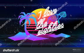 80s love eighties retro style disco stock vector 598986392