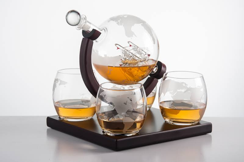 Eravino Etched Globe Whiskey Decanter Gift Set - 7 Pieces