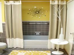 grey and yellow powder room floor mount tub faucet gray vanity