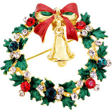 christmas wreath with bell swarovski crystal pin brooch
