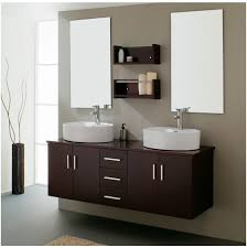 double sink modern bathroom cabinet with different color finish