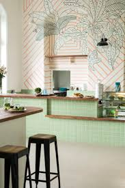 531 best trending graphic walls floors images on pinterest ministry of the new mumbai cafe monday s large scale mural with coral stripes