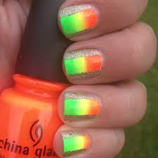neon and glitter color blocked nails polish me please
