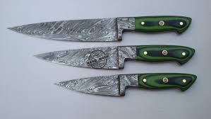 Kitchen Knives Online by Lot Of 3 Pcs Damascus Kitchen Chef U0027s Knife Custom Handmade Knife