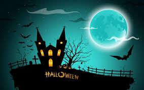 scary moon background holiday halloween scary castle creepy full moon bats pumpkins cat