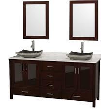 Lucy  Double Bathroom Vanity Set With Vessel Sinks - Black bathroom vanity with vessel sink
