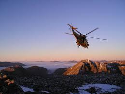 early days of the sea king helicopter painting of rescue on beinn