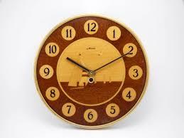 majak soviet wooden wall clock handmade in 60s wall hanging home