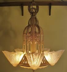 Beautiful Lighting Exquisite 5 Light Art Deco Lightolier Slip Shade U0026 Dome