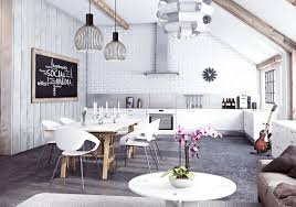 Interior Design Kitchen Living Room Miysis Painted White Brick Open Plan Kitchen Living Dining