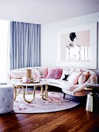 Feminine Living Room by Blush Pink Pale Blue Glam Girly Penthouse Interior Design Home Of