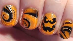 arcadianailart easy halloween pumpkin water marble nail art on