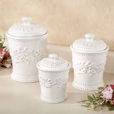 Glass Kitchen Canisters Airtight by Placing White Kitchen Canisters From Ceramic To Prettify Your