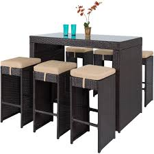 Patio Furniture Set Best Choice Products 7pc Rattan Wicker Bar Dining Table Patio
