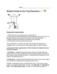 Student Guide to the Frog Dissection studylib net