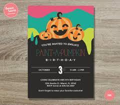 pumpkin painting birthday invitation 5x7 fun halloween