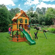 Cedar Playsets Gorilla Playsets Riverview Cedar Wooden Swing Set Walmart Com