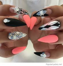 long stiletto nails with diamonds and more love the coral color