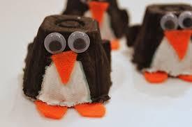 green owl art egg carton penguin