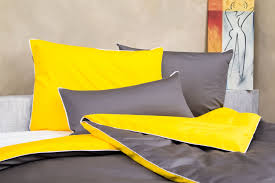 bed linen yellow grey white made from fine mako cotton