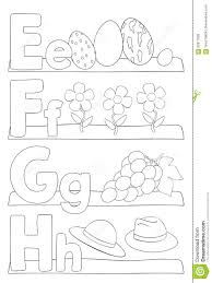 alphabet coloring page letters e f g h stock vector image