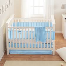 amazon com breathablebaby safety crib bedding set blue mist 3